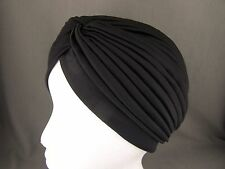 Black hair wrap Turban twist pleated womens ladies head cap cover turband
