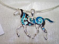 "Silver Western Horse Turquoise Pendant Earrings Pop Clasp Chain 18"" 20"""