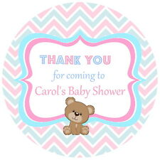 24 PERSONALISED GLOSS PINK & BLUE BABY SHOWER  TEDDY BEAR  PARTY STICKERS LABELS