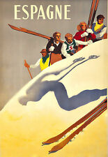 Art Ad Espagne Ski Spain Spanish Skiing Travel  Deco  Poster Print