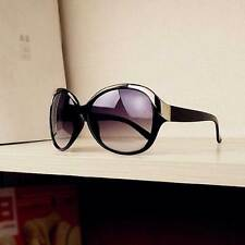 Women Retro Round Sunglasses Oversized Fashion Metal Frame with Black Lens