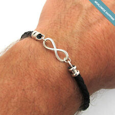 Men's Infinity Cuff Bracelet - Braided Leather Bracelet for Men - Husband Gift