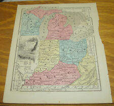 1849 Olney's Antique COLOR Map/USA States of MI, OH, IN, KY, WI, PART OF VA