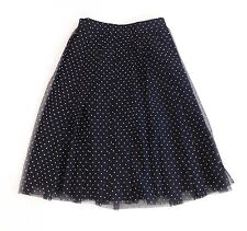 NWT J Crew Net-A-Porter Double Pleated Midi Skirt Flocked Tulle Black 2 F6765