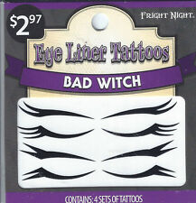 Fright Night Face & Body Tattoos Halloween Includes 4 Sets Bad Witch