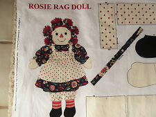 """Fabric Panel, Rosie Rag Doll with Bloomers, Apron, Dress, 20"""" Tall, Cut & Sew"""