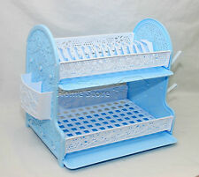 Double Drip Tray 2 Layer Plastic Dish Drainer Rack Utensil Cutlery Draining W/SB