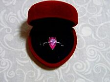 4.8 TCW VVS Natural Earth Mined Pear Cut Pink Zircon .925 Silver Ring Size 7