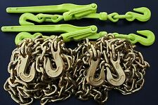 3/8 Chain & Binder Combo Transport Tie Down Chains Flatbed Truck Trailer Binders