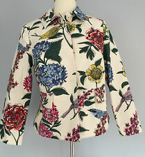 BRAND NEW by BODEN floral COTTON jacket SIZE 10 birds & flowers STUNNING COLOURS