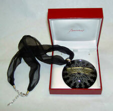 $785 BACCARAT Large Rockmantic Black Crystal Chiffon Sterling Necklace in Box