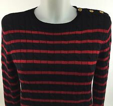 New Ralph Lauren Navy Blue Red Striped Cable Knit Sweater Sz Med Gold Buttons
