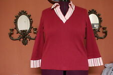 Women's - Misses Goodclothes Size L Red Long sleeve VNeck Sweater EUC