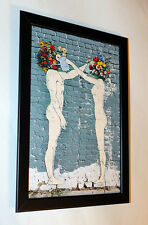 Banksy Water The Flowers framed 8X12 canvas print poster street art graffiti