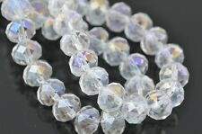 Wholesale 50pcs 10mm Rondelle Faceted Loose Spacer Crystal Glass Beads Clear AB