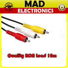 Quality 10m RCA Audio Video Cable Lead Yellow Red White Male to Male Plug