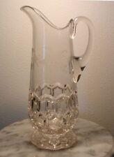 EAPG Hobbs Brockunier Hexagon Block Crystal Tankard Floral Engraved