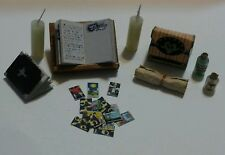 Dollhouse Miniature Halloween Witch Magic Books Potions Tarot Cards Candles Set