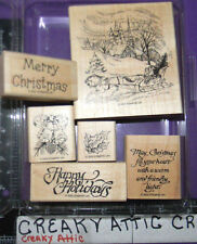 STAMPIN UP SLEIGH RIDE 6 RUBBER STAMPS WINTER CHURCH CHRISTMAS