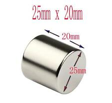 2 x Super Strong NdFeb 25mm x 20mm Rare Earth Neodymium Big Round  Magnets