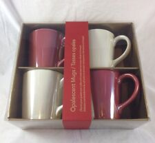 Starbucks Opalescent Coffee Mugs Gift Set 12oz Red White Pearl Made in Portugal