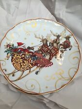 2 WILLIAMS SONOMA TWAS THE NIGHT BEFORE CHRISTMAS DINNER PLATE SANTA SLEIGH 2015