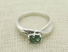 Sterling Silver Natural Emerald Diamond Accent Ring Size 5