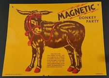 Vintage Magnetic Donkey Party Tin Litho Metal Sign by Novel Novelties, N.Y.