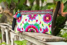 Silk Worm Hmong Embroidered Clutch Bag Handmade Fair Trade Ethnic Purse