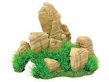 Rock Cave with Grass FIsh Tank Aquarium Reptile Hide Vivarium Ornament