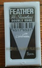 Feather Hi Stainless Double Edge DE Safety Razor Blades (7) Black Label