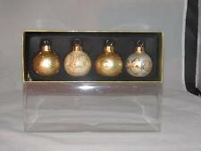 Celebrate It Glass Christmas Ball Ornaments Set 4 Gold Glitter  Accents  New