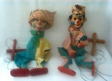 2 Mexican Clown Marionette String Puppets w/Straw HatsVintage