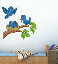 Wall Stickers Wall Decals Adorable Blue Birds Feeding Baby Room