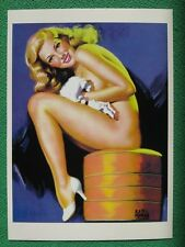 Earl Moran Pinup Girl Art Beautiful Blonde Nude Seated on Cushion Leg Show Mint!