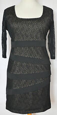 BNWT New Latte Italy Black Lace 3/4 Sleeve Stretch Pencil Wiggle Dress - 18 | 50