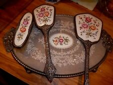 Vintage Dressing Table Set Tray, Mirror, Brush & Clothes Brush with Petite Point