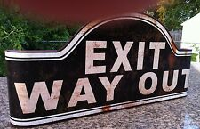 Unqiu Black Curved Vintage Exit Way Out Metal Sign Movie Theater Room Wall Decor