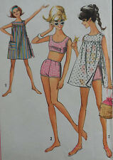 VTG 60s Two-piece Swimsuit Sun Dress Bathing Cover Up Size 9 Jr Teen Bust 30.5