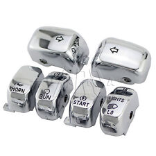 6pcs Chrome Hand Control Switch Housing Button Covers Caps Set for Harley 96-13