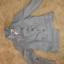 Forever 21 Gray Military Style Wool Blend Lined Womens Pea Coat Size M
