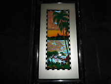 Vintage Art Deco Natural Butterfly Wing Panama Palm Tree Picture