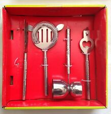4 Piece Bar Set Hammered Stainless- Strainer, Opener, Peg Measurer, Citrus Knife
