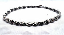 LADIES 7.5 INCH HEALING MAGNETIC THERAPY LINK BRACELET: Silver Hearts; 4 Pain!