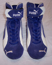 Mens Puma Suede Ankle Racing Driving Shoes Boots Blue Suede Size 7.5 US