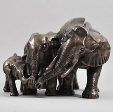 Elephant Family Bronze Statue Sculpture Ornament Decorative Home Baby Gift 07011