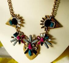 J CREW ABSTRACT CLUSTER MODERN SAFARI NECKLACE NWT PINK BLUE GOLD CRYSTAL POUCH