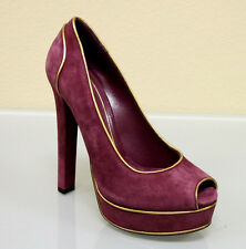 $695 New Authentic GUCCI Suede Platform SHOES 38/8 w/Gold Trim Purple 278262