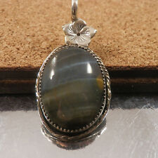 Handcrafted Sterling Silver Southwest Signed Blue Tiger's Eye Pendant 925