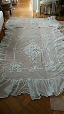 SHABBY antique VTG VICTORIAN net lace coverlet BATTENBURG? OLD RUFFLES BEDSPREAD